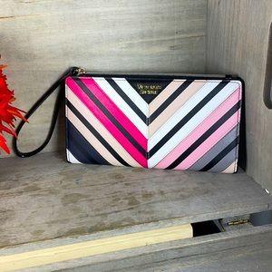 Victoria's Secret Large Faux Leather Stripe Wallet